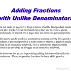 Puzzle - Adding Fractions with Unlike Denominators - GGH