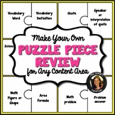 Puzzle Piece Editable Review Activity for Any Subject