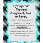 Pythagorean Theorem Assignment, Quiz, or Review
