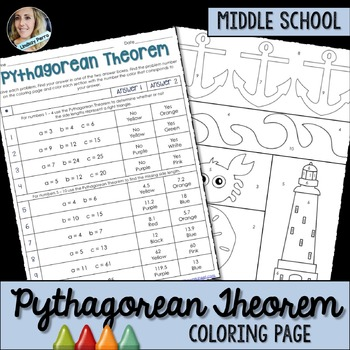 Pythagorean Theorem Coloring Worksheet