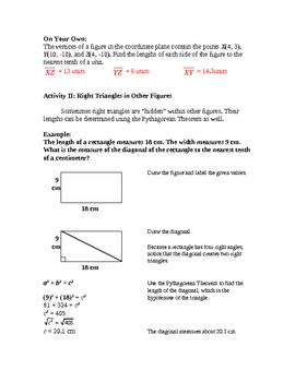 Pythagorean Theorem, Pt. II Lesson Plan - Applications