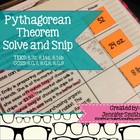 Pythagorean Theorem Solve and Snip- Aligned to Common Core