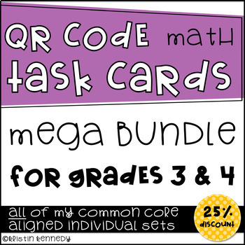 QR Code Math Task Card Mega Bundle {ALL of My 3rd and 4th