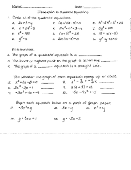 Quadratic Equations Notes and Worksheet