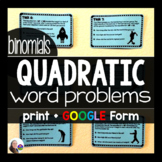 Quadratic Word Problem Task Cards: Ax^2+Bx (with optional