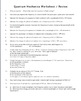 Quantum Mechanics Worksheet / Review