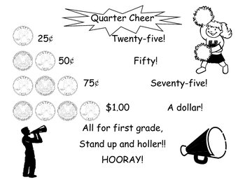 Quarter Cheer Poster and Worksheet (Math, Money)