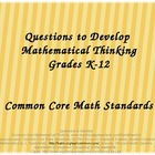 Questions to Develop Mathematical Thinking Common Core ppt