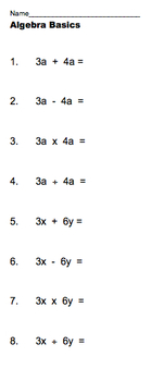 Quick Algebra Basics Diagnostic