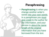 Quoting, Paraphrasing, Summarizing for Research Papers Made Easy!