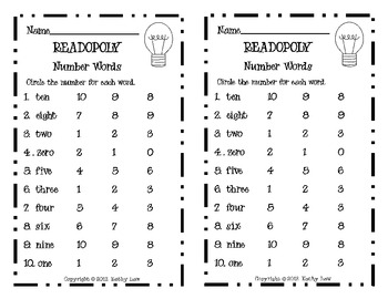 READOPOLY--Number Words