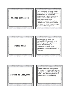 REVOLUTIONARY WAR FLASHCARDS