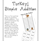 Race to the Turkey! Simple Addition