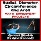 Radius, Diameter, Circumference, Area Math Differentiated Menu