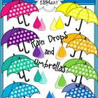 Rain Drops and Umbrellas Clip Art