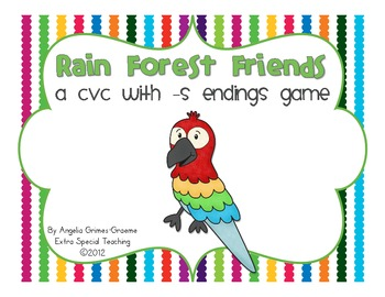 Rain Forest Friends CVC Game - Words with the ending s