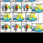 Rain Multiplication Math Matching for Pocket Chart or File