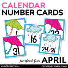 Rain Showers Themed Calendar Numbers