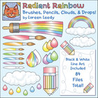 Rainbow Brushes, Pencils, Clouds, Drops, & Borders Clip Ar