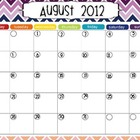 Rainbow Chevron School Calendar