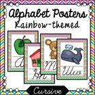 Rainbow Chevron Themed Cursive Alphabet Posters