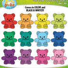 Rainbow Counting Bears Clipart — Includes 15 Graphics!