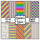 Rainbow Delight Digital Papers {8.5 x 11} Clip Art CU OK