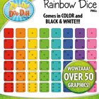 Rainbow Dice Clipart — Over 50 Rainbow Color Graphics!