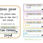 Rainbow Fun Name Plates- with free Alphabet charts color a