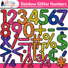 Rainbow Glitter Math Numbers Clipart - TPT Seller - Smartb