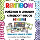 Rainbow Polka Dot & Chevron Classroom Decor {EXTRAS}