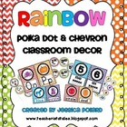 Rainbow Polka Dot &amp; Chevron Classroom Decor