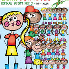 Rainbow Scrappy Kids Set 2 Clipart