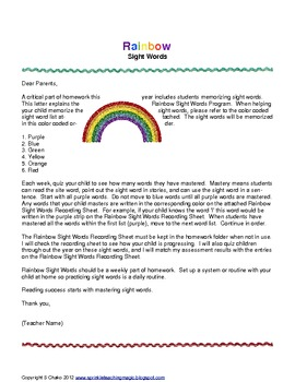 Rainbow Sight Words Homework Program
