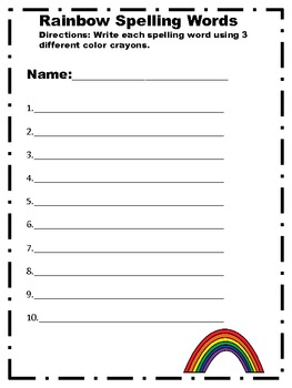 Rainbow Spelling Words Recording Sheet