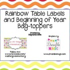 Rainbow Table Labels Numbers and Bag Toppers