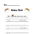 Rainbow Words Sight Words Literacy Center