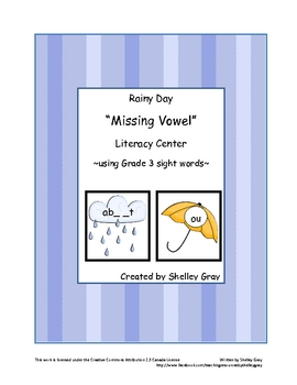 "Rainy Day ""Missing Vowels"" Literacy Center: using grade 3"