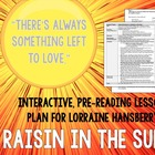 Raisin in the Sun pre-reading lesson plan w/ worksheet &amp; a