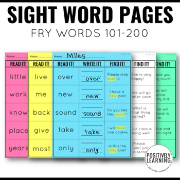 Read It Write It Find It Sight Words 101-200