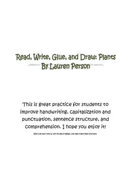 Read, Write, Glue, Draw- Plants!