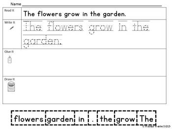 Read it, Trace It, Put the Sentence Together: Flowers theme