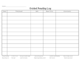 Readers Conference/Guided Reading Log