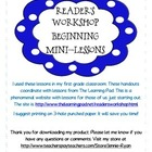 Reader&#039;s Workshop Mini-Lesson Handouts