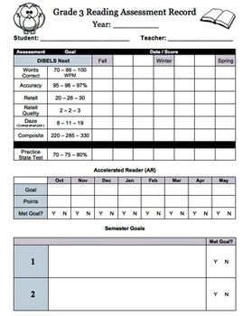 Reading Assessment Record Grade 3