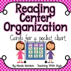 Reading Center Organization Cards - Pink & Green
