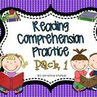 Reading Comprehension Practice Pack 1