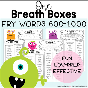 Reading Fluency One Breath Boxes - Fry Words 600-1000