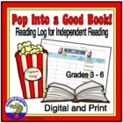Reading - In Class Reading Log - Pop Into a Good Book
