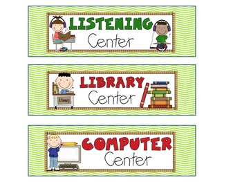 Reading Literacy Center Signs Green Cheveron
